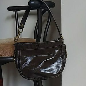 Shiny brown leather Coach bag